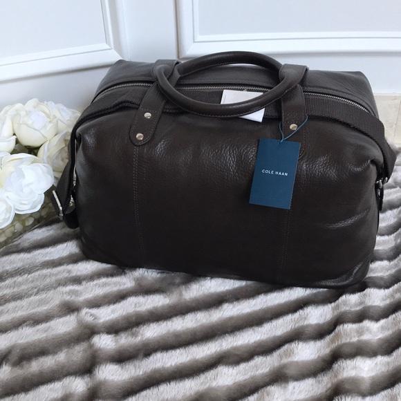 Cole Haan Saunders Duffle Bag Brand New Java Brown Leather Shoulder Bag